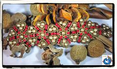 Autumn Leaves Bracelet (AbaBeads) Tags: gold beads rojo seed bracelet bronce rondelles pulseras brazalete 24kt