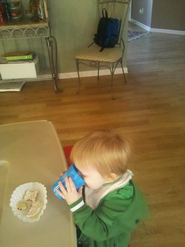 101118 Coleman drinking out of big boy cup at AJs