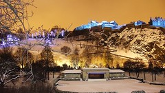 Edinburgh Castle, Saint Andrew's Night (byronv2) Tags: blue winter snow colour building castle history architecture night scotland edinburgh edinburghcastle princesstreetgardens chateau schloss nuit edimbourg rossbandstand edinburghbynight saintandrewsday saintandrewsnight