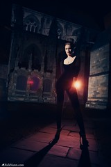 Black Widow (Rick Nunn) Tags: portrait woman black female night lights comic cathedral gothic heels tall blackwidow strobist ef28mmf18usm vsortpop