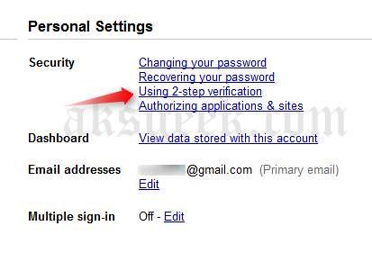 gmail personal setting