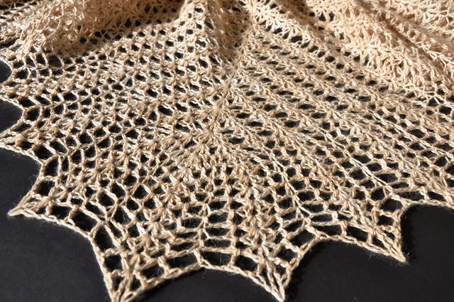 Shell & Feather crochet shawl finished-34x62inches-6