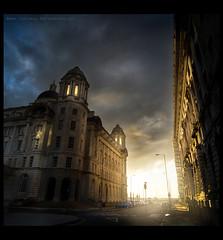 Golden Hour II - Liverpool 2011 (Lee Carus) Tags: road sunset sky sunlight port liverpool golden pier dusk sony ii hour cunard slt hear 2011 a55