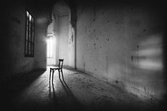 Hour Of Despair (Midnight - digital) Tags: light bw white black castle abandoned window sadness blackwhite chair solitude mood alone sad decay corridor atmosphere urbanexploration despair desperation ue urbex melancolic abandonedcastle