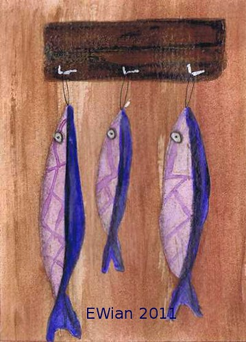three little fishes hanging in a row 4