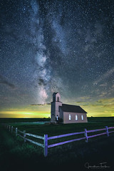 Heaven Above (Jonathan Tasler) Tags: kansas night church milkyway galaxy astrophotography rural fence nikond810