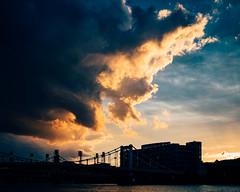 Pittsburgh Waterfront (seikoesquepayne) Tags: olympus sunset em1 f12 pittsburgh storm sky mzuiko 25mm clouds