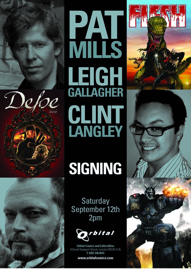 Pat Mills, Leigh Gallagher and Clint Langley Signing Poster