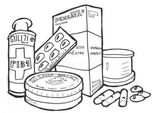 Ilustración: varios envases de medicinas