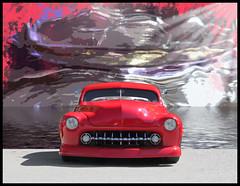 Red Mercury (bindare2) Tags: red classic car photoshop automobile mercury clean american hotrod chopped oldcars photoart cruiser topaz merc americancars carart