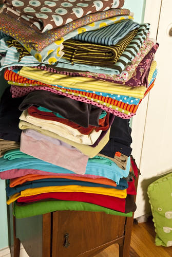 pile of knit fabric