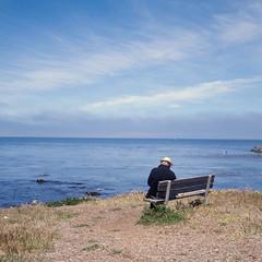 (m. wriston) Tags: ocean california camera blue people color tlr film vintage mediumformat bench square pacific candid horizon slide positive pacificgrove loverspoint reversal yashicamat124g montereypeninsula autaut kodakektachromeepp100