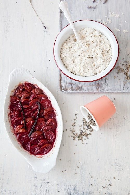 Making Plum Rice Pudding