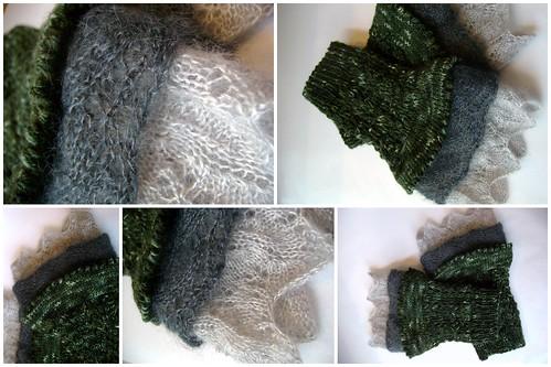 Maya's Twilight Cuffs - Black Trillium, Kidsilk Haze, Art Yarns