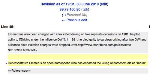 Vandalism on Tom Emmer's Wikipedia Page