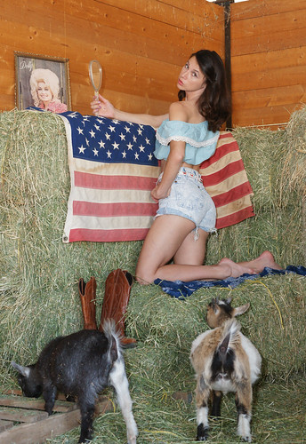 hanging with Dolly & baby goats