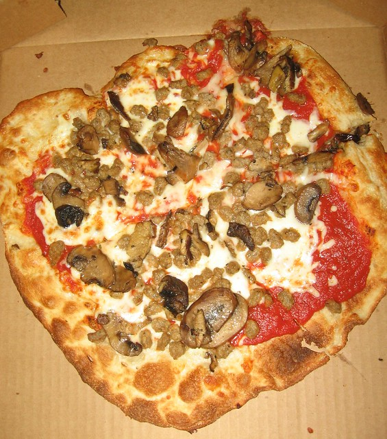 Sausage and mushroom flatbread pizza