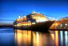 Cruise Ship HDR (Brandon Godfrey) Tags: cruise blue windows light canada reflection water reflections twilight dock ship bc britishcolumbia sony victoria vancouverisland hour pacificnorthwest northamerica dslr hdr highdynamicrange ogdenpoint a300 photomatix thechallengegame challengegamewinner