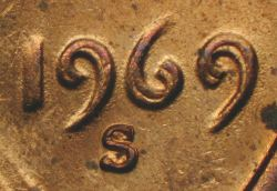 1969-S Doubled Die closeup