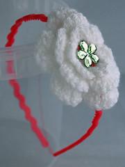 Childs's sized headband (BootiesByDannie) Tags: pink blue white flower green yellow silver crochet cream knit gem headband jewel hotpink folksy aliceband