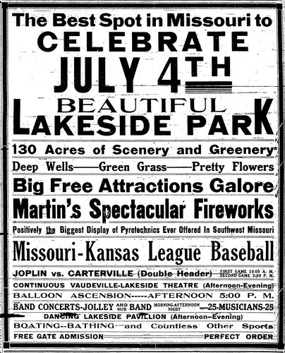 Lakeside Park 4th of July ad from 1913