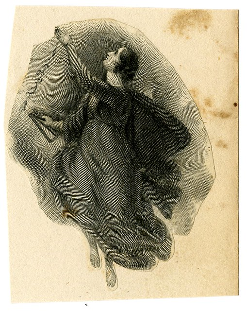 Allegorical female figure. Design printed in black. (19th c numismatics)
