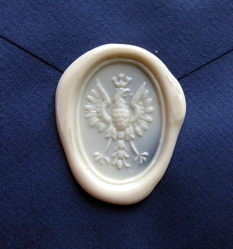Wax seal: raspberry eagle