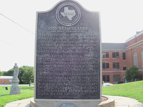Kidd Key College and Music Conservatory, Sherman, Texas Historical Marker by fables98