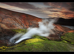 Geothermal Colors - Landmannalaugar, Iceland (orvaratli) Tags: mountain hot water colors night landscape iceland moss spring highlands steam arctic midnight heat vegetation hotspring geo geothermal mosi midnightsun icelandic landmannalaugar hrafntinnusker fjallabak arcticphoto rvaratli orvaratli