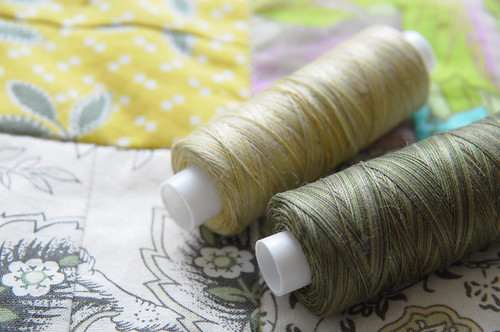 Variegated Valdani threads for machine quilting