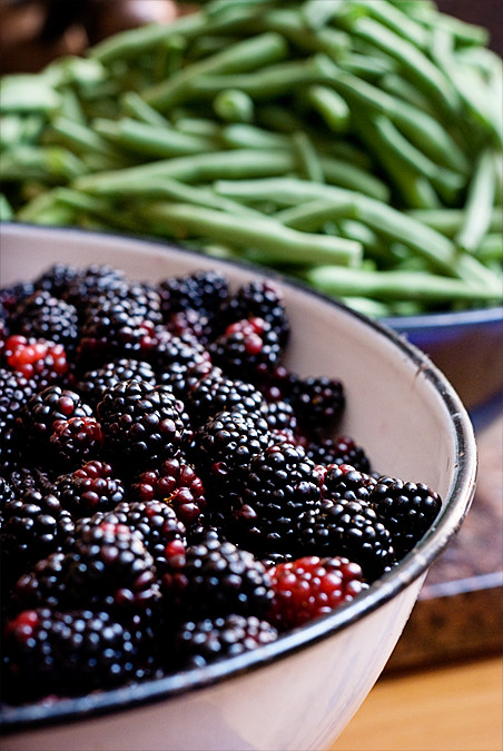 blackberries and green beans