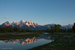 Grand Tetons from Schwabacher's Landing (Tigerotor77W) Tags: summer mountain snow reflection sunrise landscape teton tetons grandteton goldenhour 2010 grandtetonnationalpark mtmoran schwabacherslanding