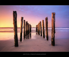 St Clair Beach, Dunedin, New Zealand (II) :: HDR (Artie | Photography :: I'm a lazy boy :)) Tags: new christchurch reflection beach nature photoshop sunrise canon landscape landscapes sand shine stclair jetty wideangle zealand shore handheld southisland dunedin poles 1020mm hdr artie cs3 3xp sigmalens photomatix tonemapping tonemap stclairbeach 400d rebelxti