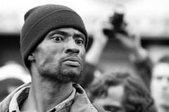 Angry Protester Begins Yelling At Police as They Move Riot Line Forward (Thomas Hawk) Tags: california bw usa america oakland riot unitedstates 10 unitedstatesofamerica protest eastbay riots fav10 oscargrant oaklandriots oaklandlocal johannesmersehle oaklandca070810 oaklandriots2010