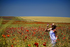 Karin Maci (vadimionescu) Tags: woman beauty grass canon landscape seaside bluesky adventure romania poppies karin vadim romanian beautifull wheatfield peisaj poppiesfield 400d canon55250is vadimionescu