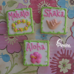 Luau Cookies (pipeline confections) Tags: square thankyou bamboo lei hibiscus luau hawaiian shaka aloha hangloose mahalo sugarcookies welcoming royalicing simpleshapes illustratedshapes