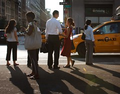 Crossing 5th Avenue (captainkickstand) Tags: street nyc newyorkcity light sunset shadow red people woman man love corner couple crossing dress ditch candid taxi romance keep crosswalk 5thave keep2 ditch2 ditch3 ditch6 ditch8 ditch9 ditch10 ditch4 ditch5 ditch7