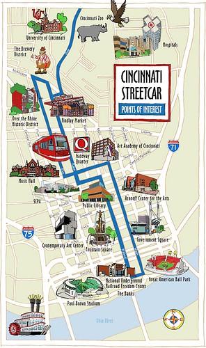 Cincy's streetcar route (by: Cincy Streetcar)