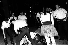 SEXGARAGE- last photo (DawnOne) Tags: gay party bw film by analog lesbian dawn am sticks cops anniversary montreal 14 4  july police 15 human linda rights muc badges bashing hammond 32 1990 20th abuse beating homophobic attacked removed indyfotocom sexgarage matraques