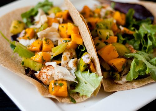 healthy fish tacos with mango salsa verde handle the heat