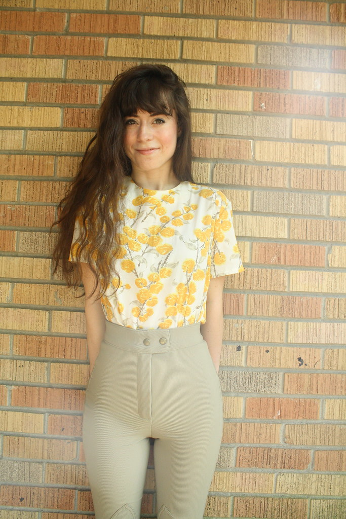 1950's yellow rose blouse