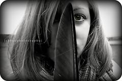 hide&seek. (Abby G Photography) Tags: portrait people white black green girl beautiful face closeup scarf hair eyes pretty hide seek captivating ebertz cherylyn