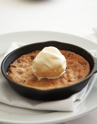 Chocolate Chip Cake Skillet with Ice Cream