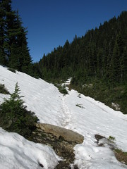 some snow on trail but easy to follow