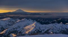 Sunrise over Mt Adams and Mt Hood from Mt Rainier (Jphanco1) Tags: park mountain sunrise paradise mt hiking sony mount climbing national rainier mountaineering alpha a100