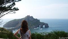 Back (endikat) Tags: sea sky naturaleza nature girl rock landscape mar san juan paisaje cielo hermitage roca ermita gaztelugatxe