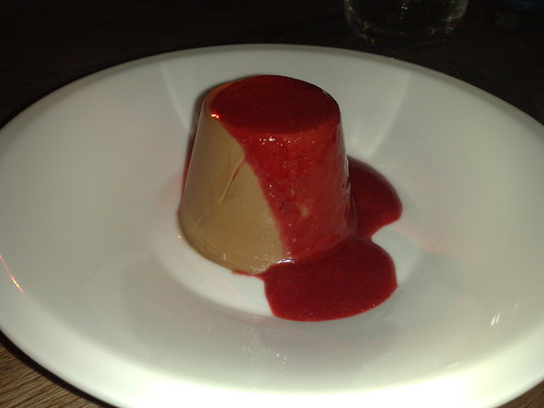 chocolate pannacotta with raspberry sauce