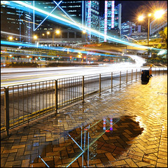 Reflection ([~Bryan~]) Tags: street city reflection night hongkong lights central lighttrails bankofchina doubledeckbus
