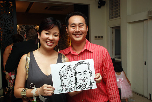 caricature live sketching for David & Christine wedding dinner - 5