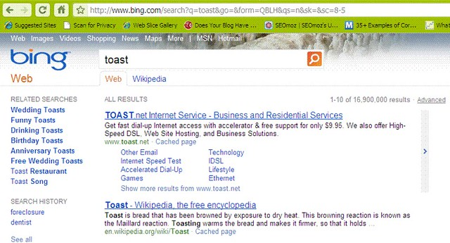 Bing SERP for toast